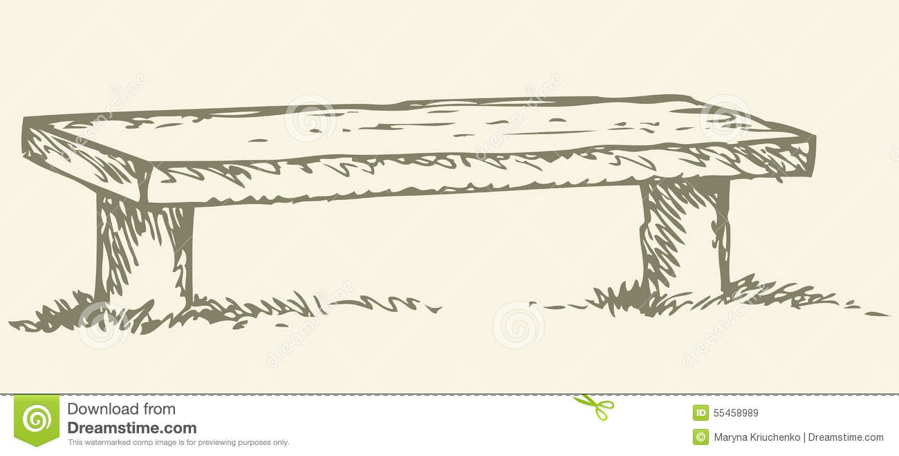 Old wooden rural bench from logs. Vector monochrome freehand linear ...
