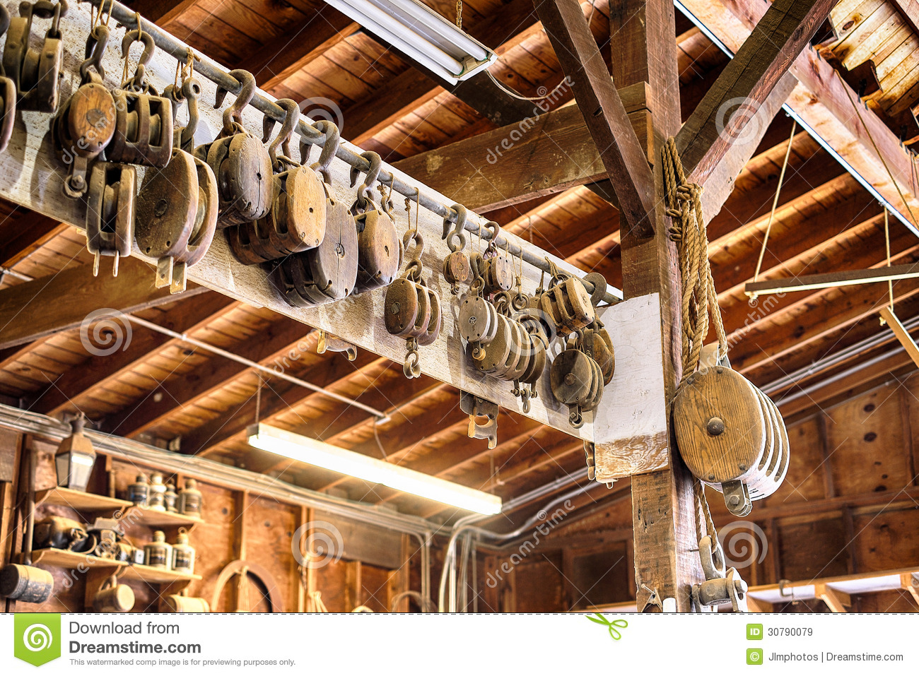 Old Wooden Block And Tackle Pulleys In A Boat Builders Shop Stock Image - Image: 30790079