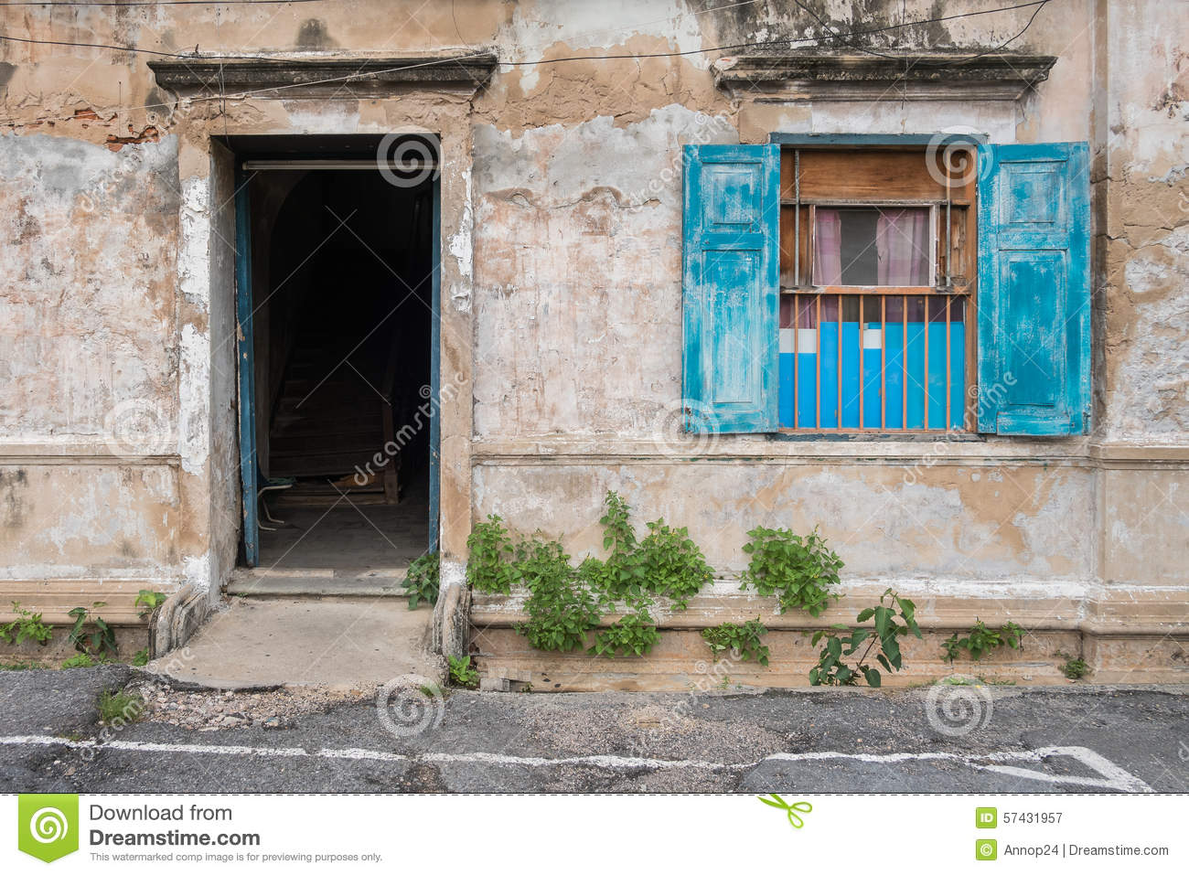 Old wooden blue door and window in the wall of old building stock photo image 57431957 - How to use old doors and windows ...