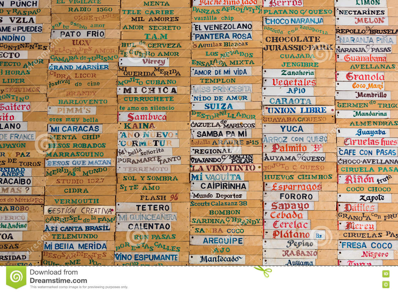 old wooden board with all ice-cream names written in spanish, me