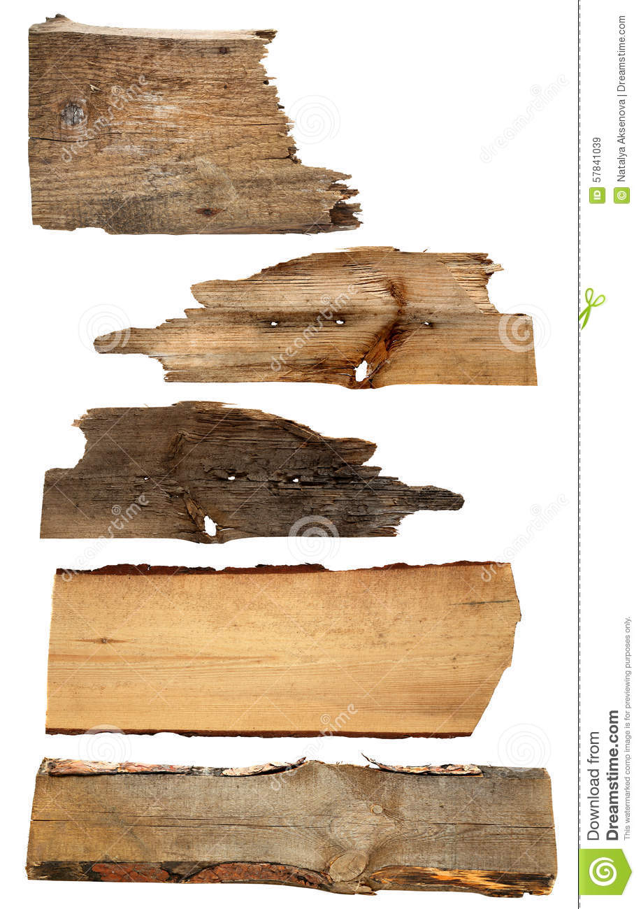 Old wooden boards isolated on a white background stock