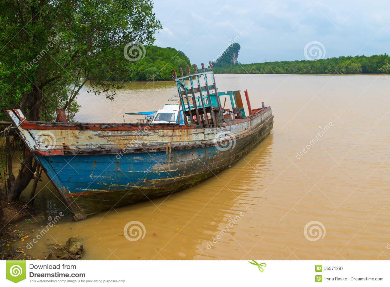 Old Wooden Boat, Abandoned And Deteriorating On A Muddy River Stock Photo - Image: 55571287