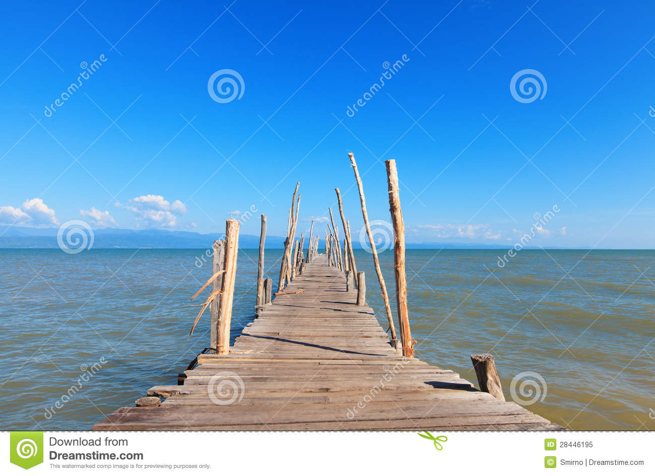 Old Wooden Boat Dock, Going Far Out To Sea. Royalty Free Stock Photo ...