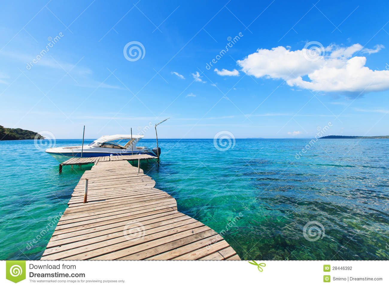 Old Wooden Boat Dock, Going Far Out To Sea. Stock Photo - Image: 28446392