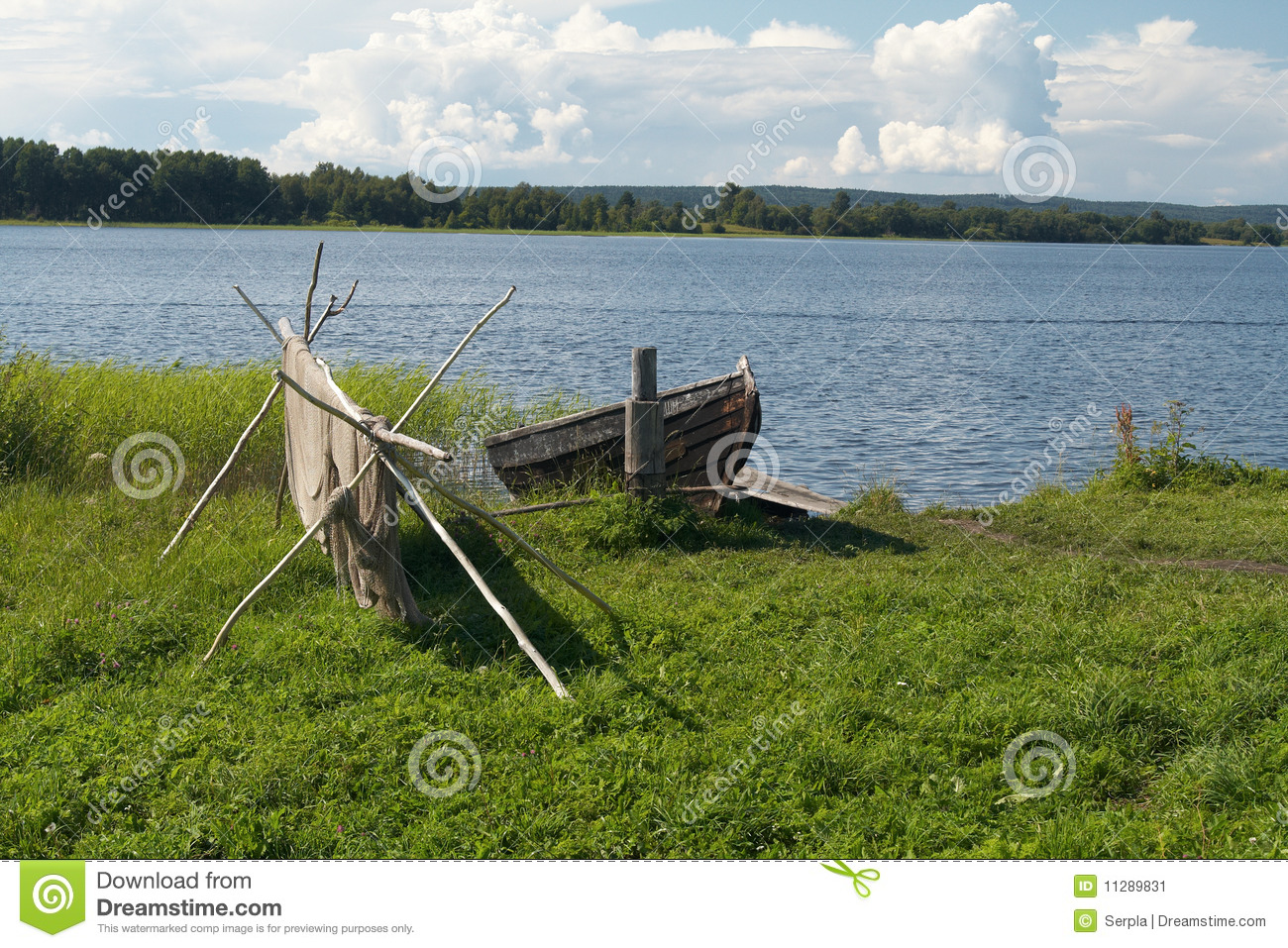 Old wooden boat and fishing net stock image image 11289831 for Wooden fishing net