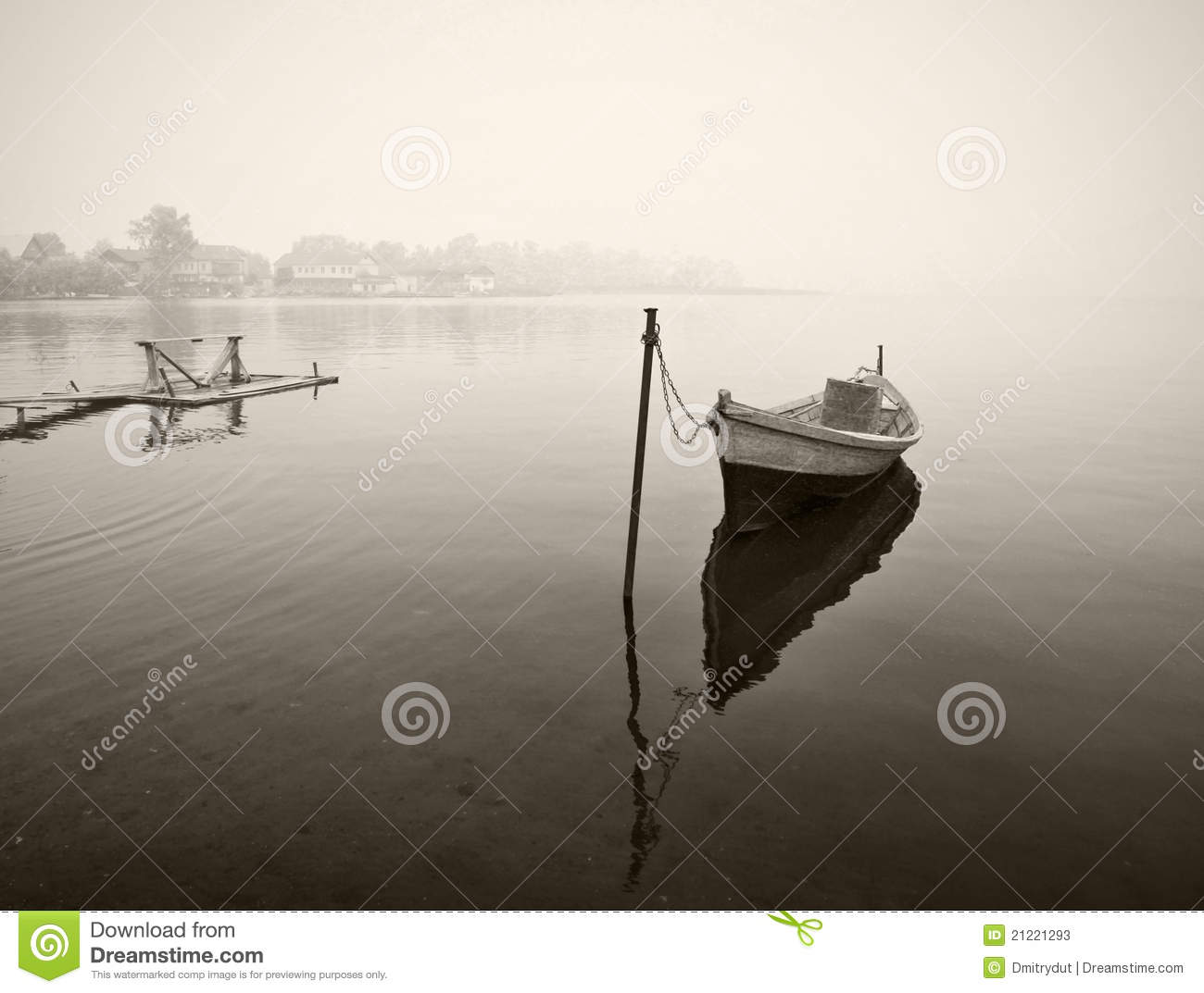 Old Wooden Boat In Fog, Black And White Stock Photos - Image: 21221293