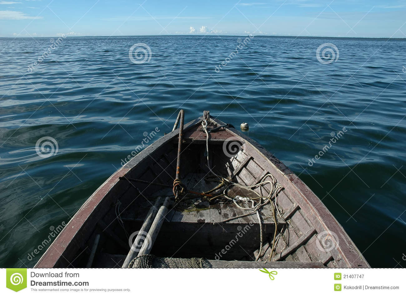 Old wooden boat on sea stock image. Image of anchor ...