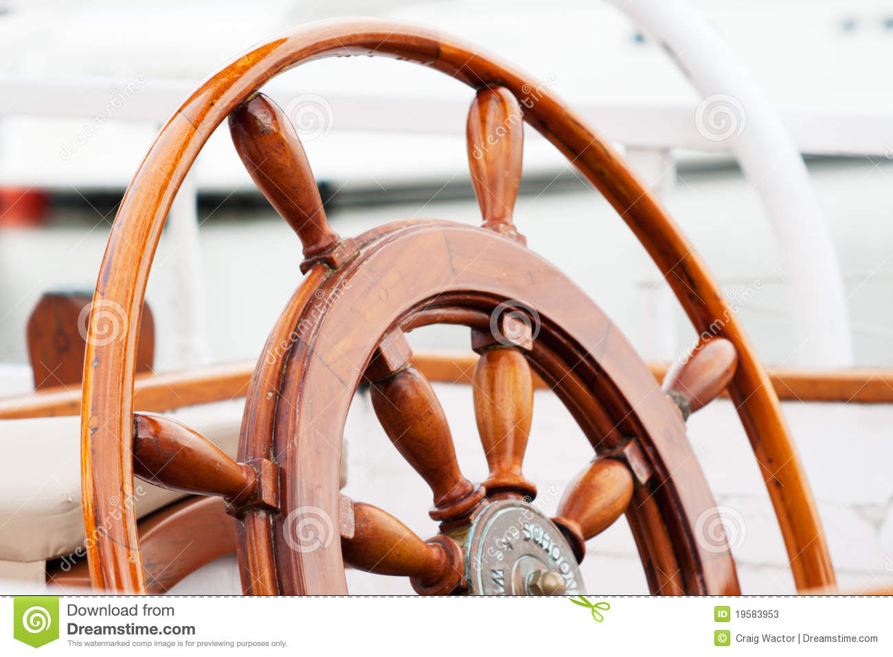 Old wooden boat wheel stock image. Image of wooden, steering - 19583953