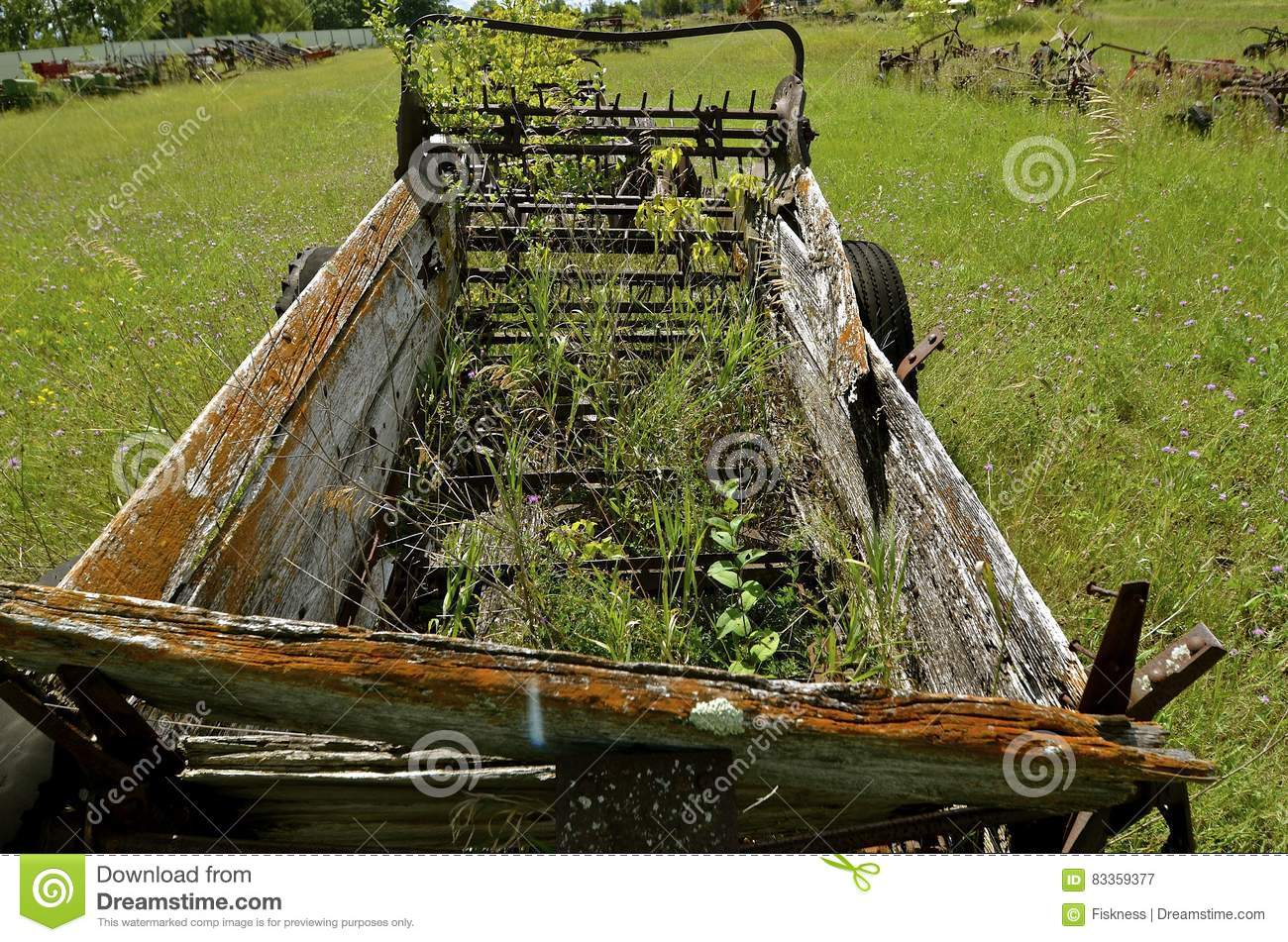 Old wooden box manure spreader stock photo image