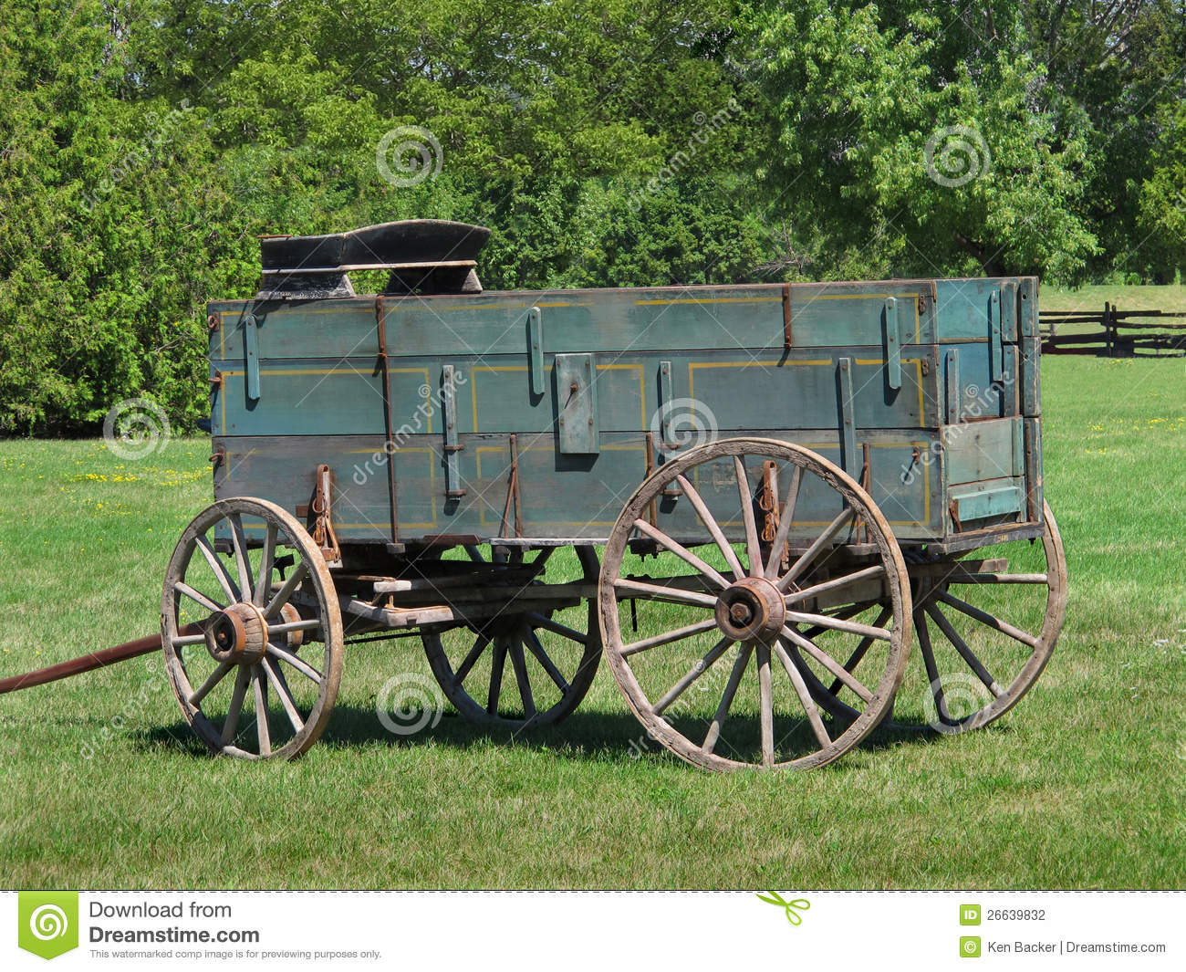 Download Old Wooden Buckboard Farm Wagon Stock Photo - Image of wagons, pasture: 26639832