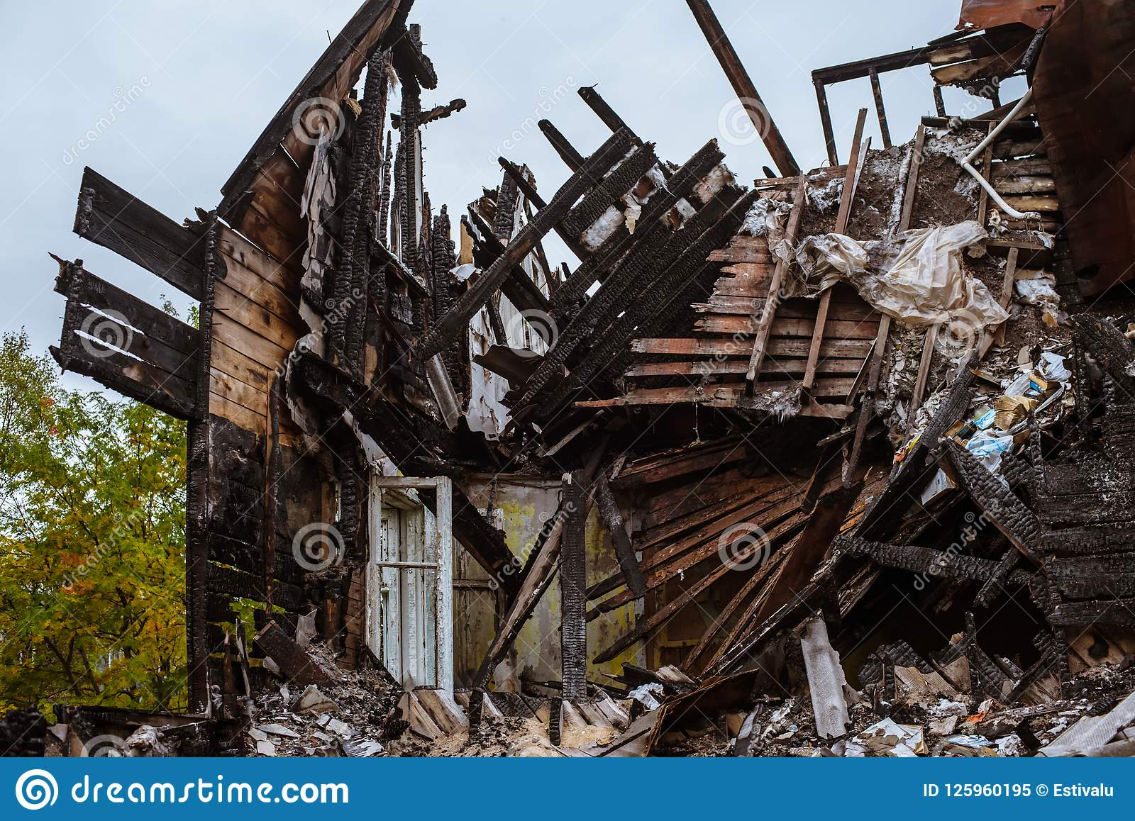 The Old Wooden Burned-down House A View From Inside Stock Image