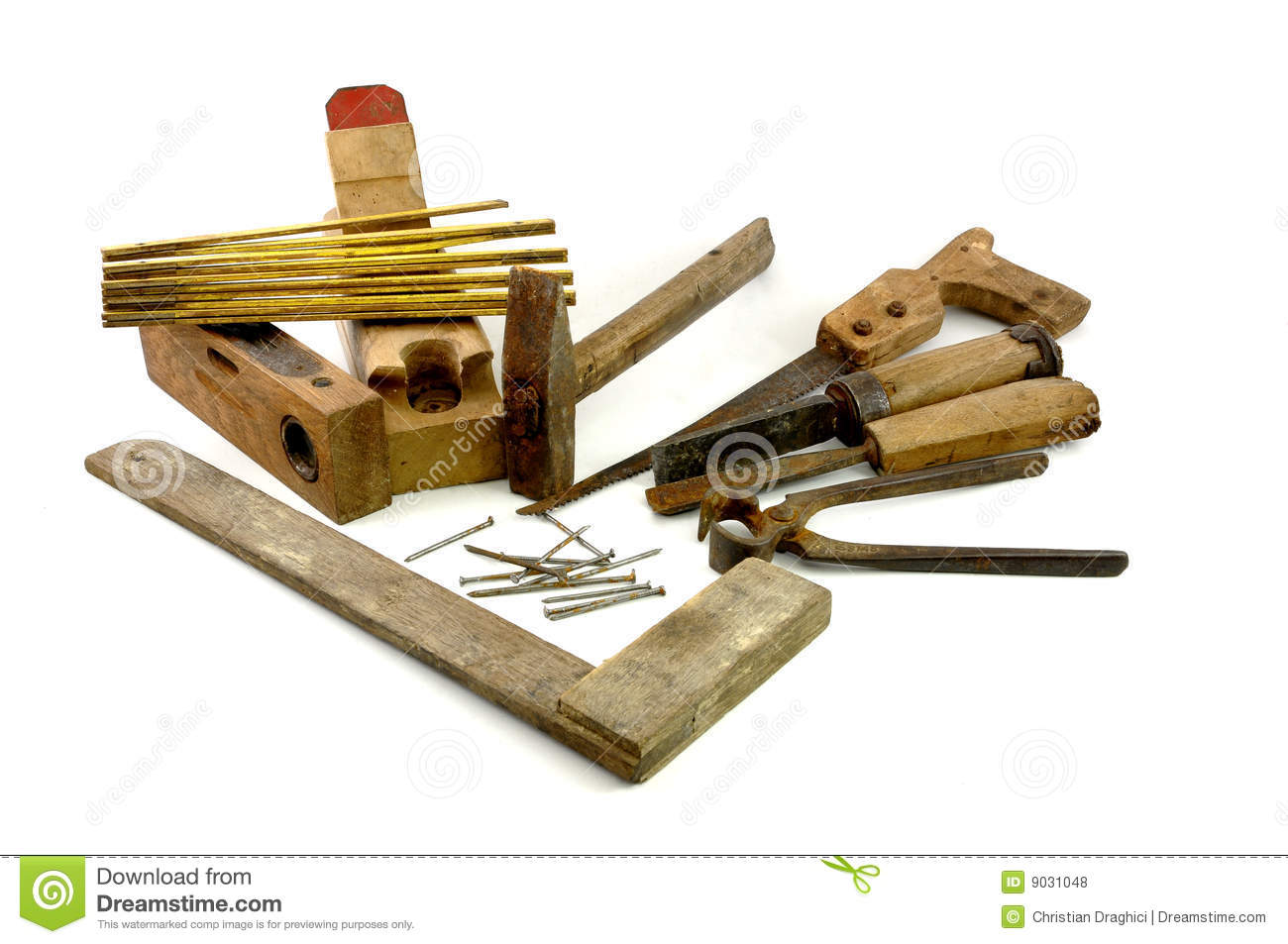 Old Wooden Carpenter Tools Stock Photo Image Of Instrument 9031048
