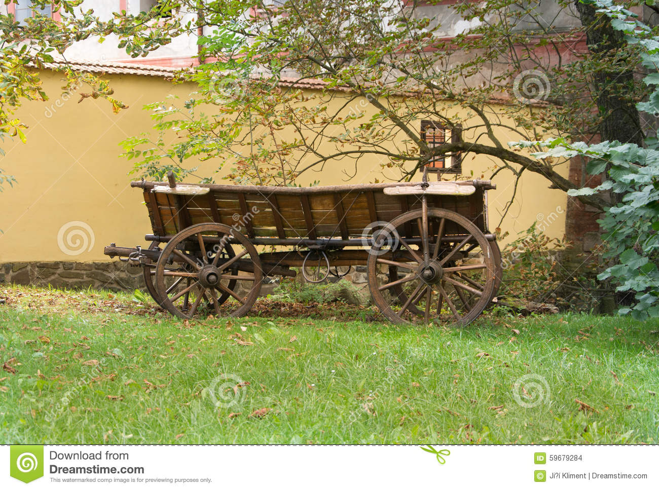Old Wooden carriage stock photo. Image of beauty, landscape - 59679284