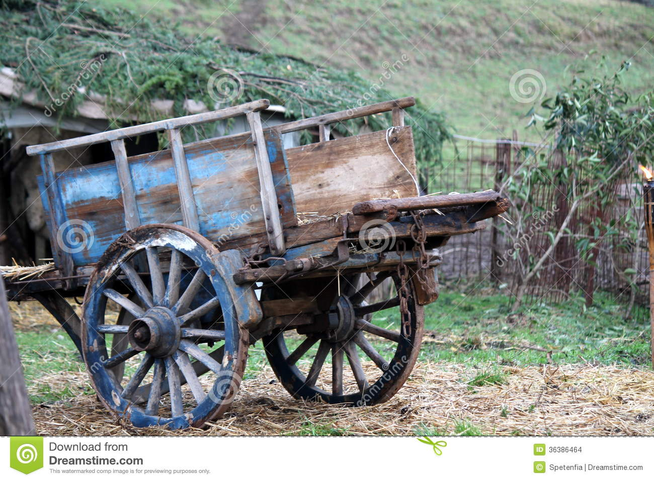 Old Wooden Cart Stock Photo. Image Of Vehicle, Horse