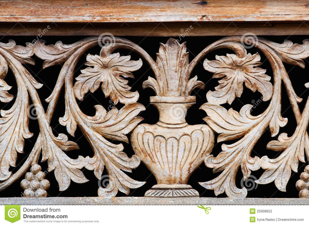 Old Wooden Carving With Bowl And Flowers