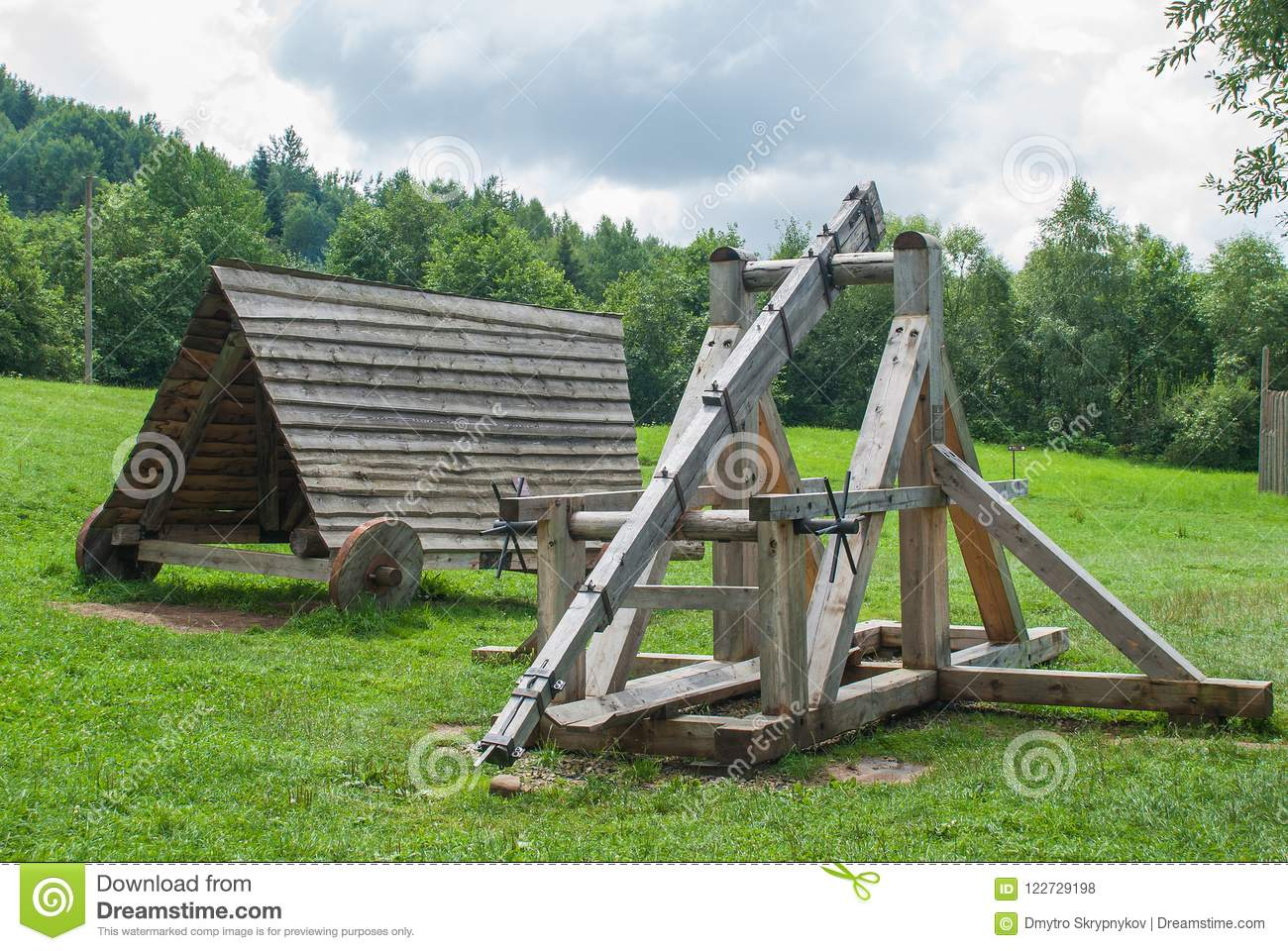 old wooden catapult ancient combat weapon stock photo image of