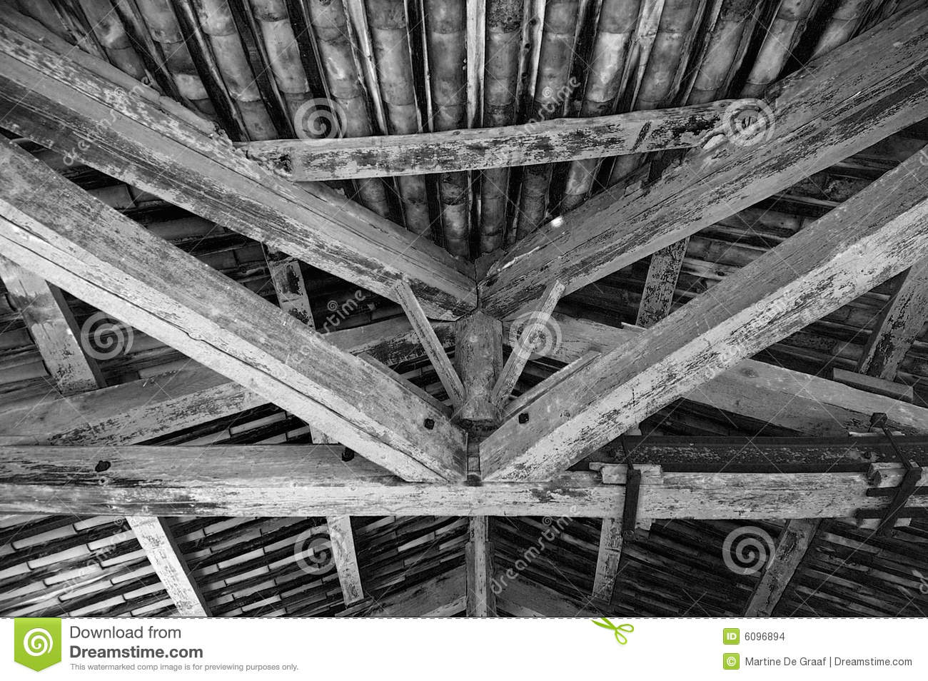 White Wood Beams On Ceiling