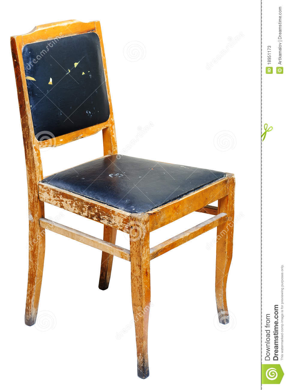 Old wooden chair isolated on white background with clipping path
