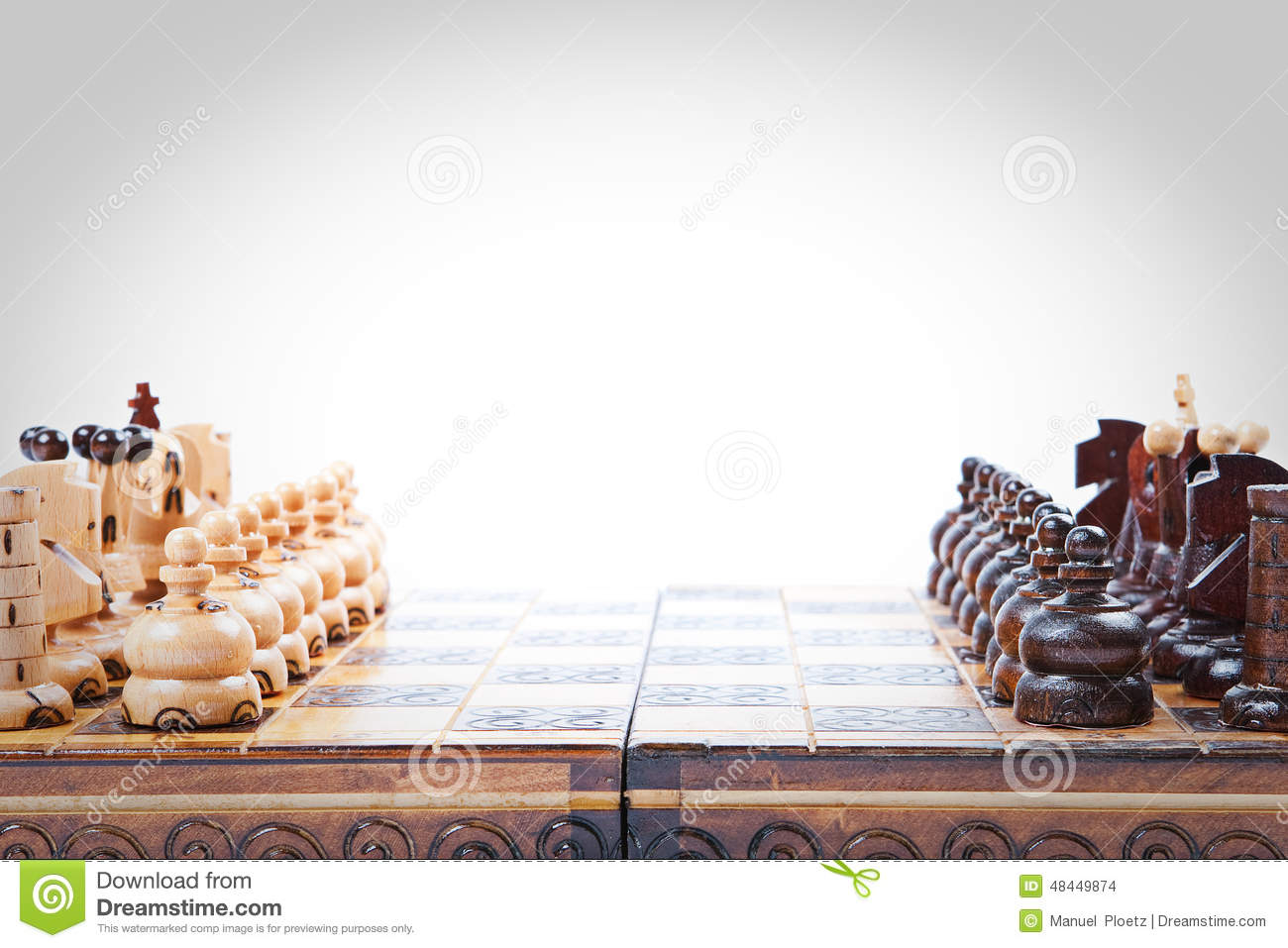 Old wooden Chess Game lineup, copy space
