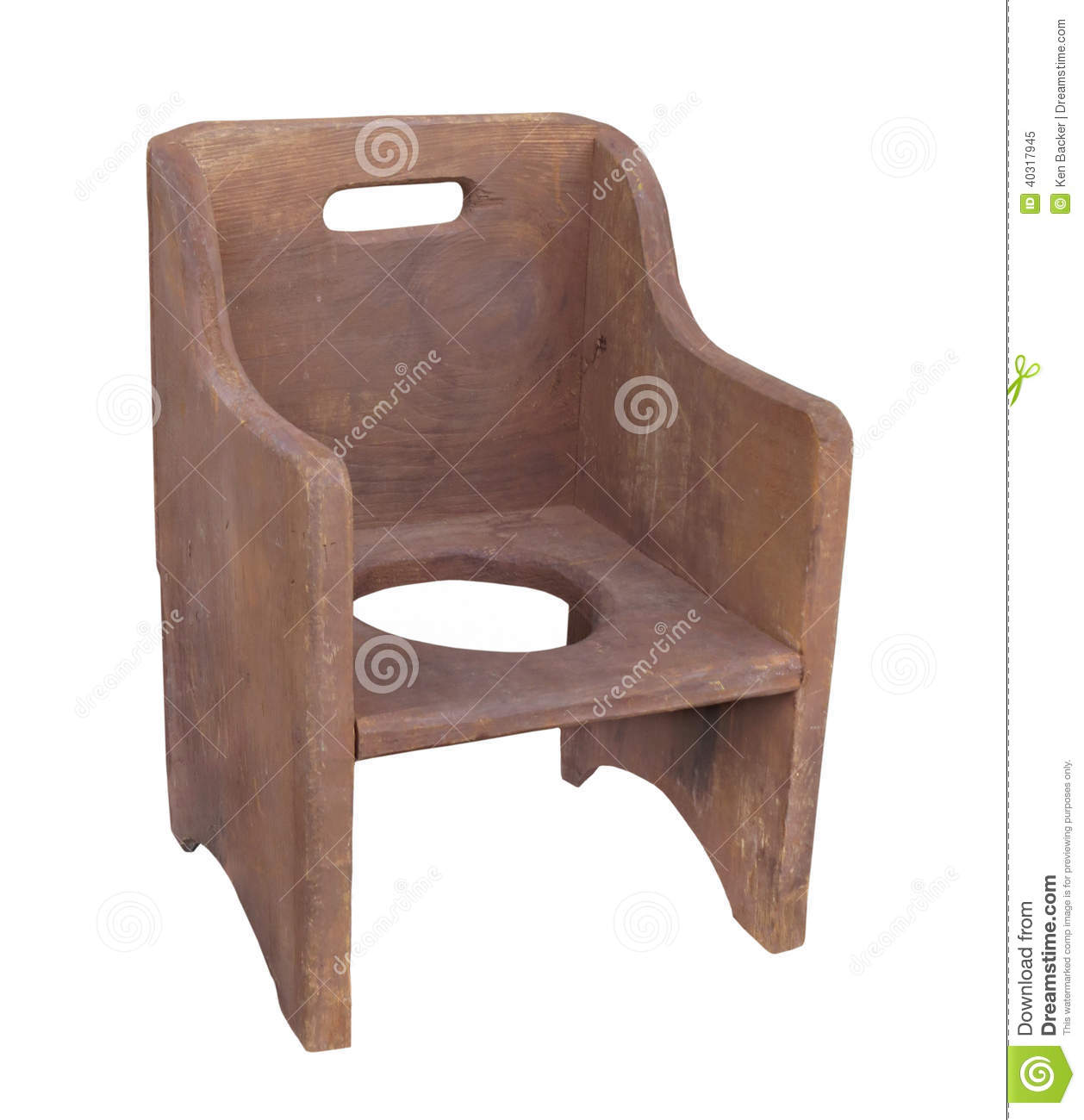 Old Wooden Child Potty Chair Isolated