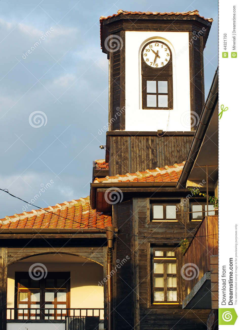 Old Wooden Clock Tower Stock Photo Image 44321750
