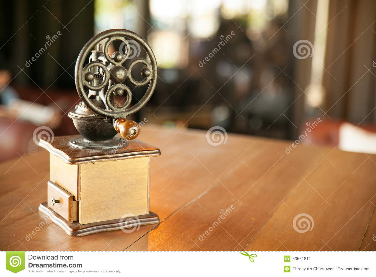 Old Wooden Coffee Grinder With Handle In Shop Background Design Stock Image - Image: 63561811