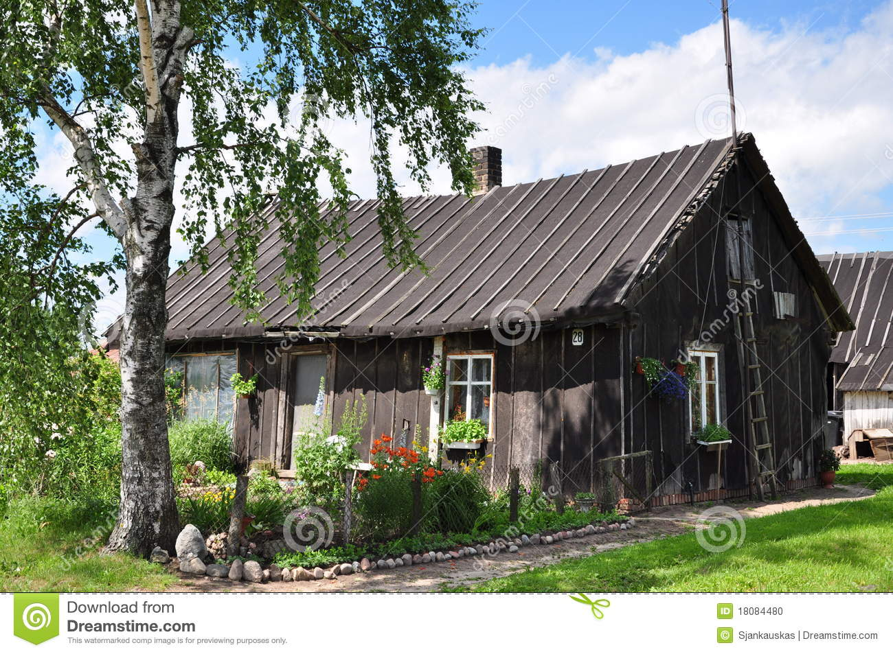 Old wooden country house stock photo image of landscape for Exterieur vieille maison