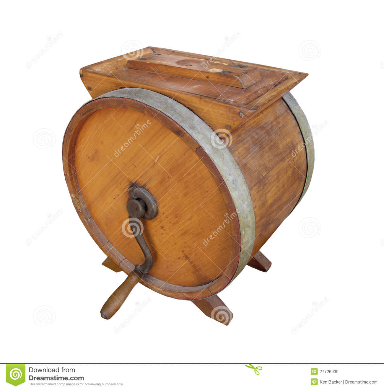 Old Wooden Crank Butter Churn Isolated Royalty Free Stock Images ...