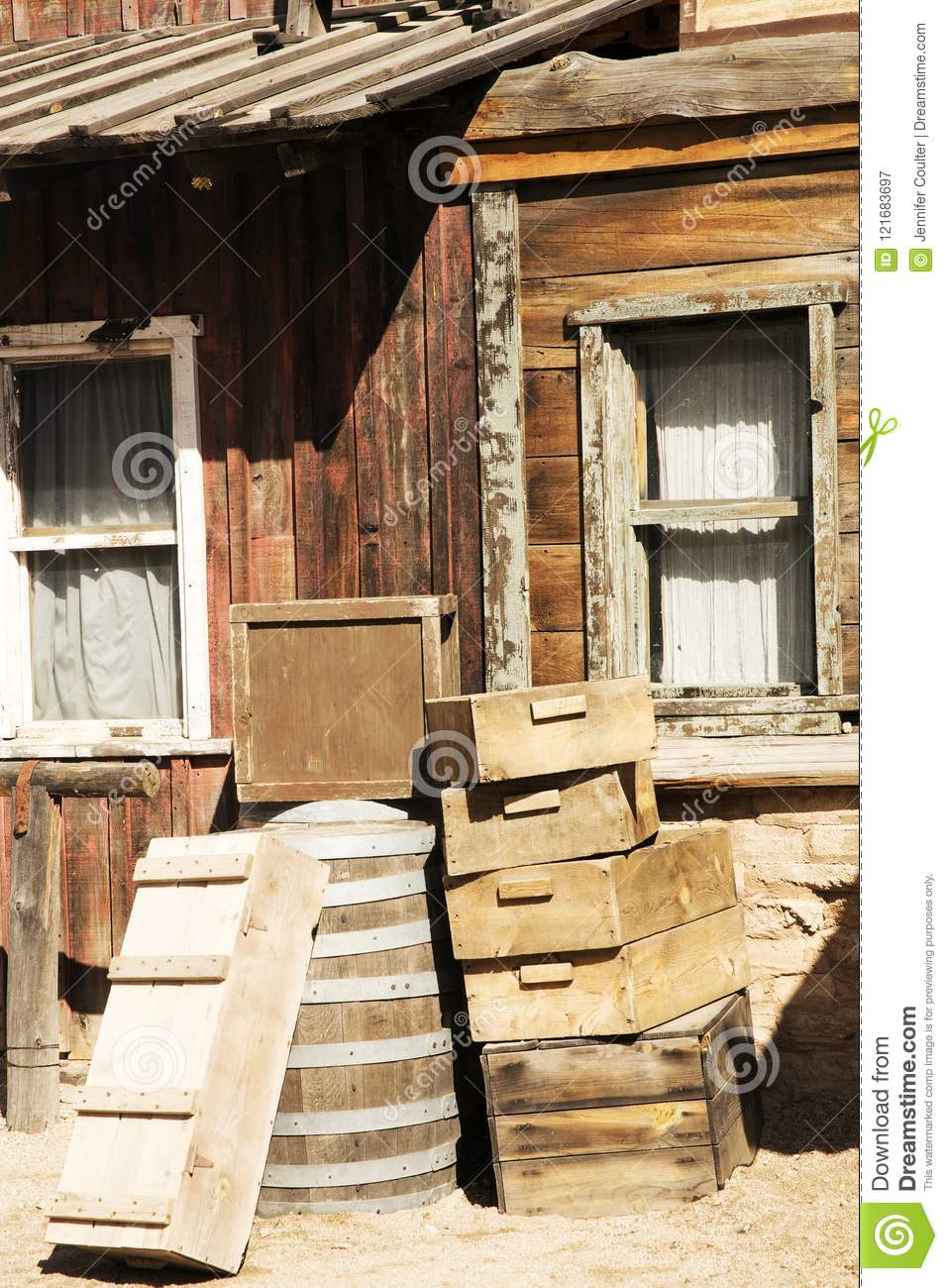 Old Wooden Crates By An Old Weathered Building Stock Image Image