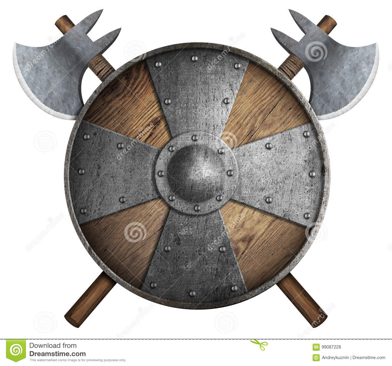 Old wooden crusader`s shield and two crossed axes isolated 3d illustration