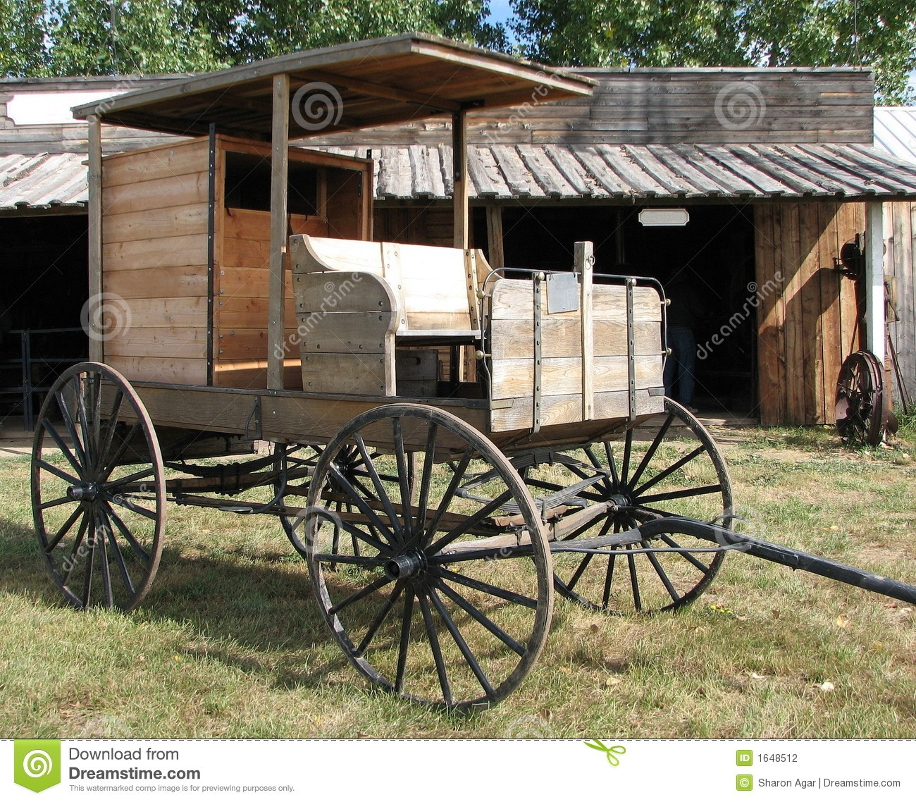 Wild West Old Wagon Wooden Wheels Stock Photography