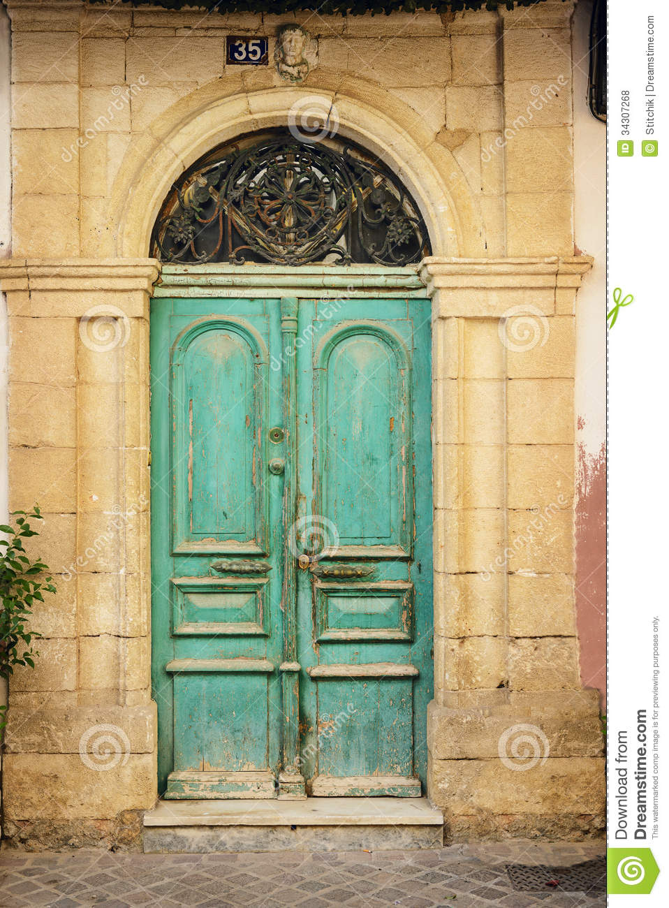 Old Wooden Door In Ancient Greek House Crete Stock Photo