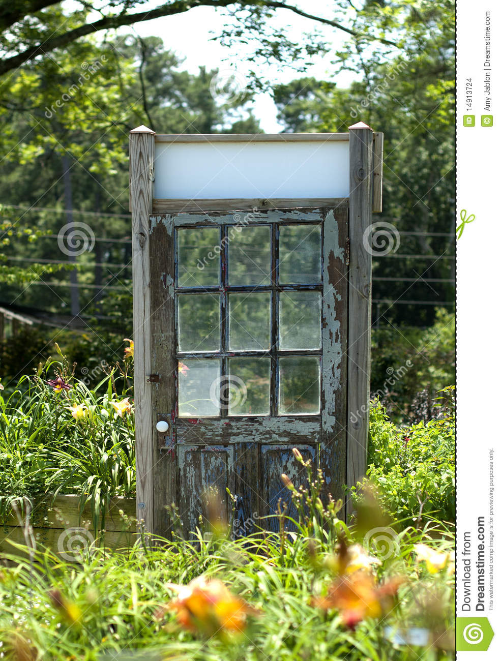 Old wooden door in daylily garden stock images image 14913724