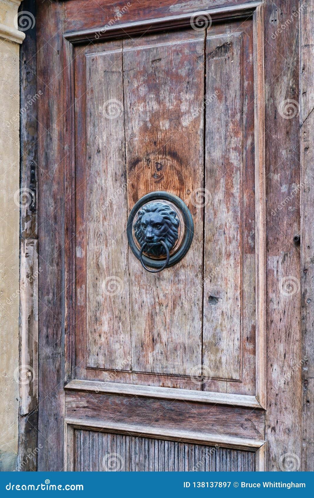 Lion Head Knocker on Old Wooden Door, Zagreb, Croatia