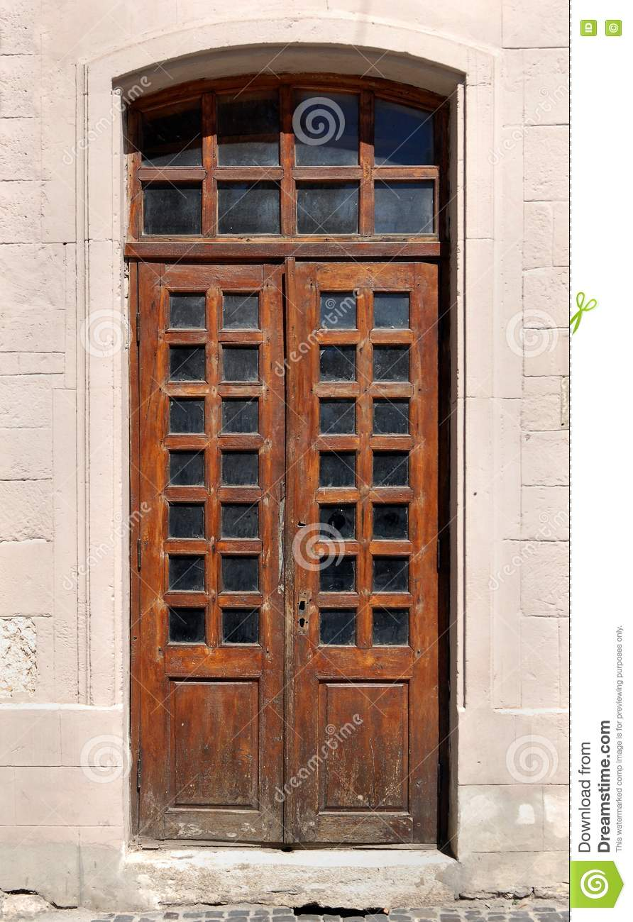 Old Wooden Door With Glass Windows Stock Photo - Image: 77531862