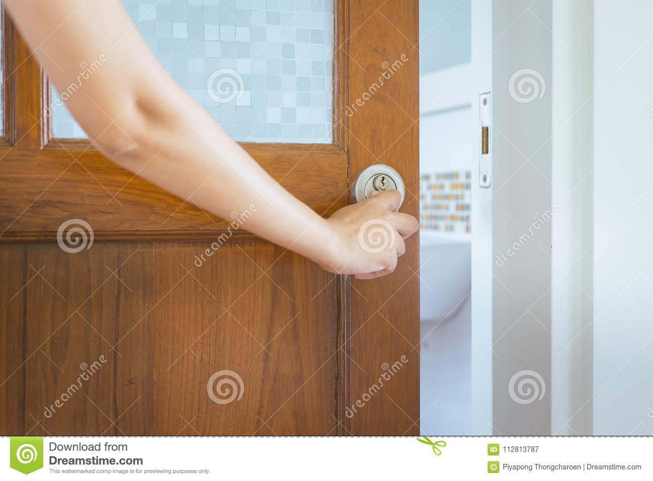 Old Wooden Door And Hand Open With Handle And Blur Toilet ...