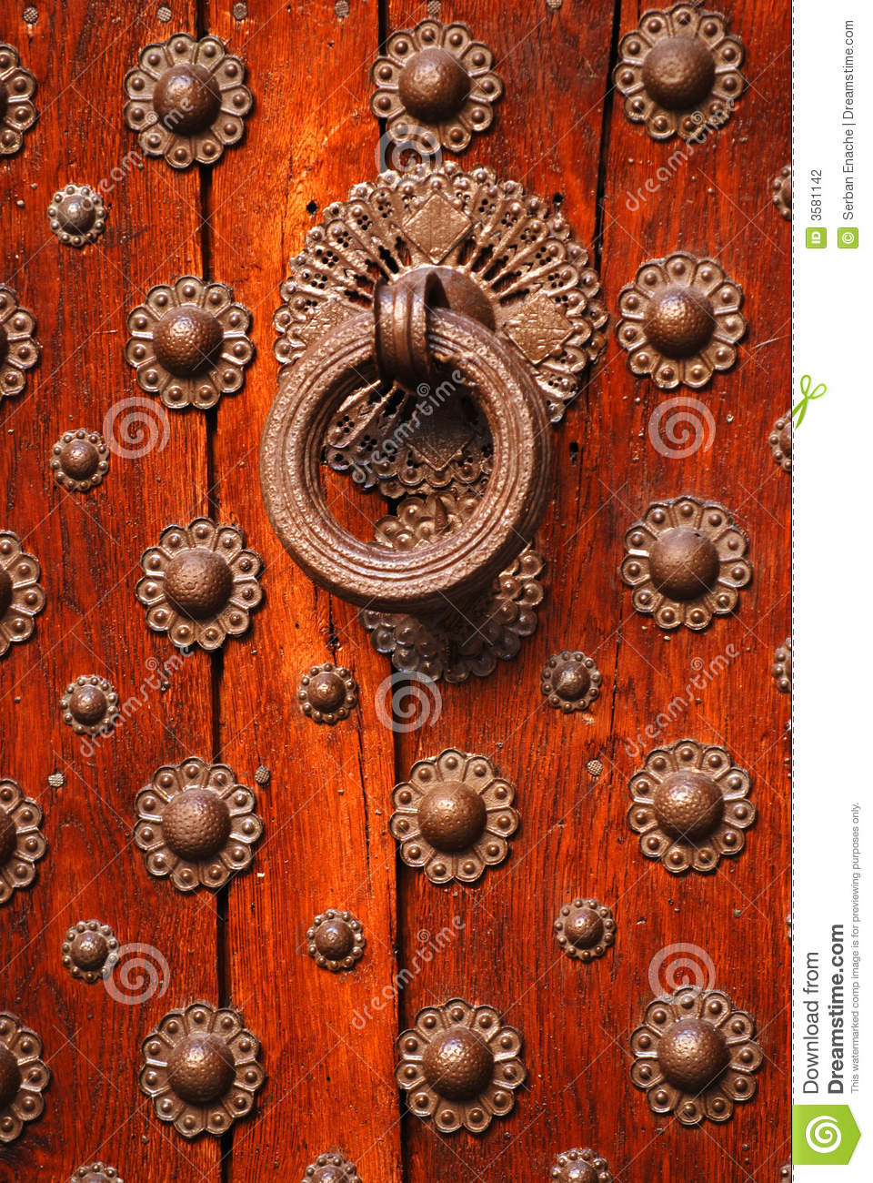 Old Wooden Door And Knocker Stock Photo Image Of Circles Ornate