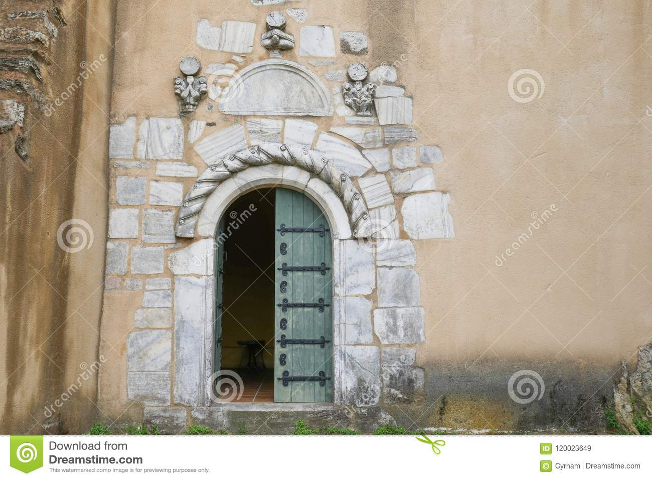 Old Wooden Door With Marble Stone Frame Unique Church Entrance