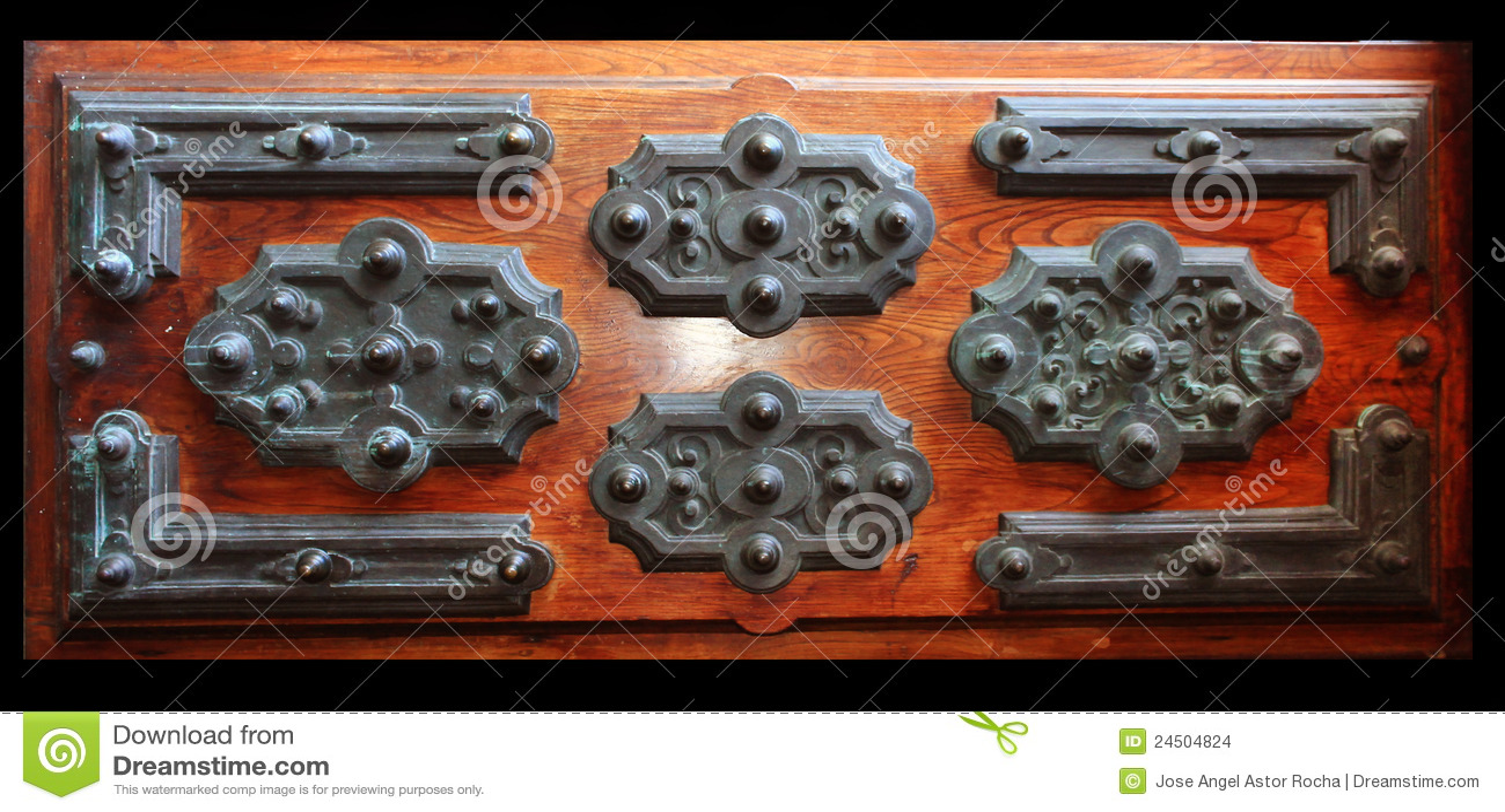 Old wooden door with metal ornaments & Old Wooden Door With Metal Ornaments Stock Photo - Image of feature ...