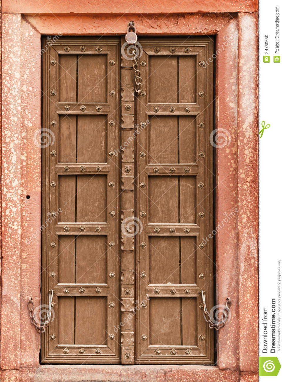 Old Wooden Doors : Old wooden door part of indian architecture stock photo