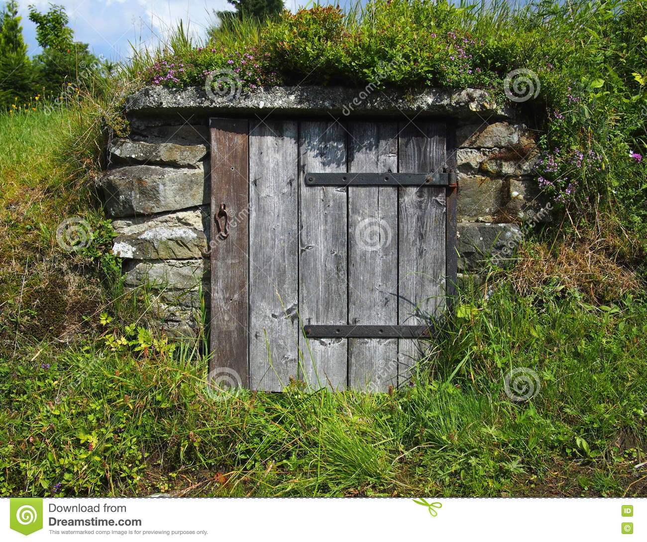Old Wooden Door To A Mountain Spring Stock Photo - Image of wicket