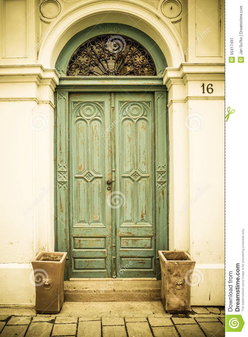Old wooden door in vintage style & Old Wooden Door In Vintage Style Stock Image - Image of shine ...
