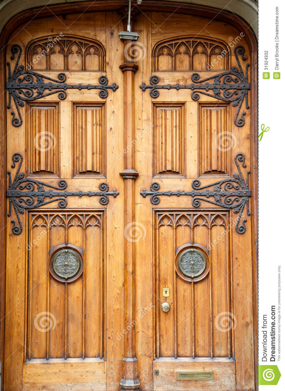 Old Wooden Doors With Brass Fixtures Stock Photography