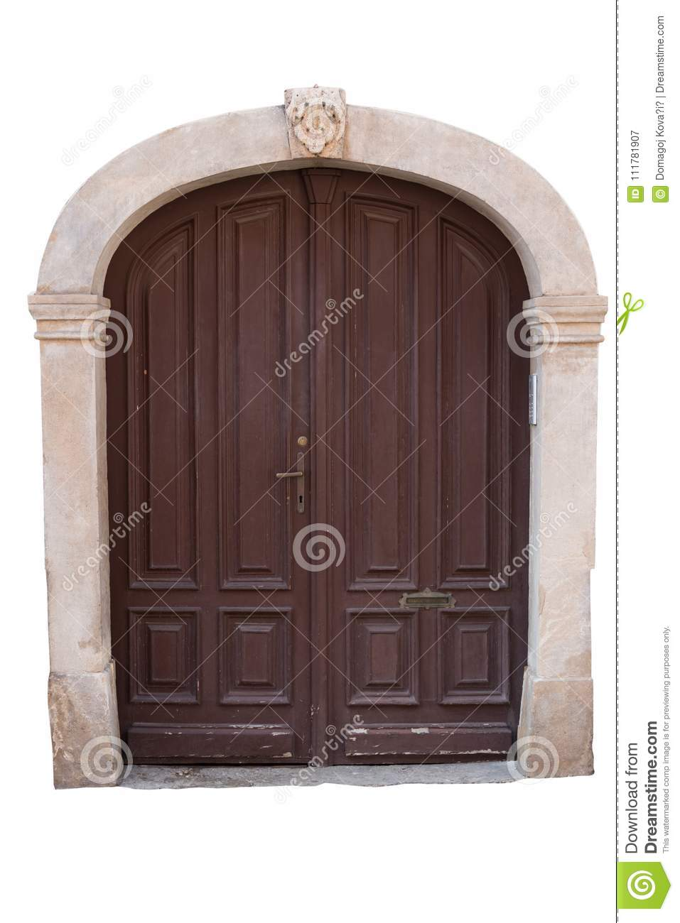 Old wooden doors with stone frame isolated on white background. Clipping path