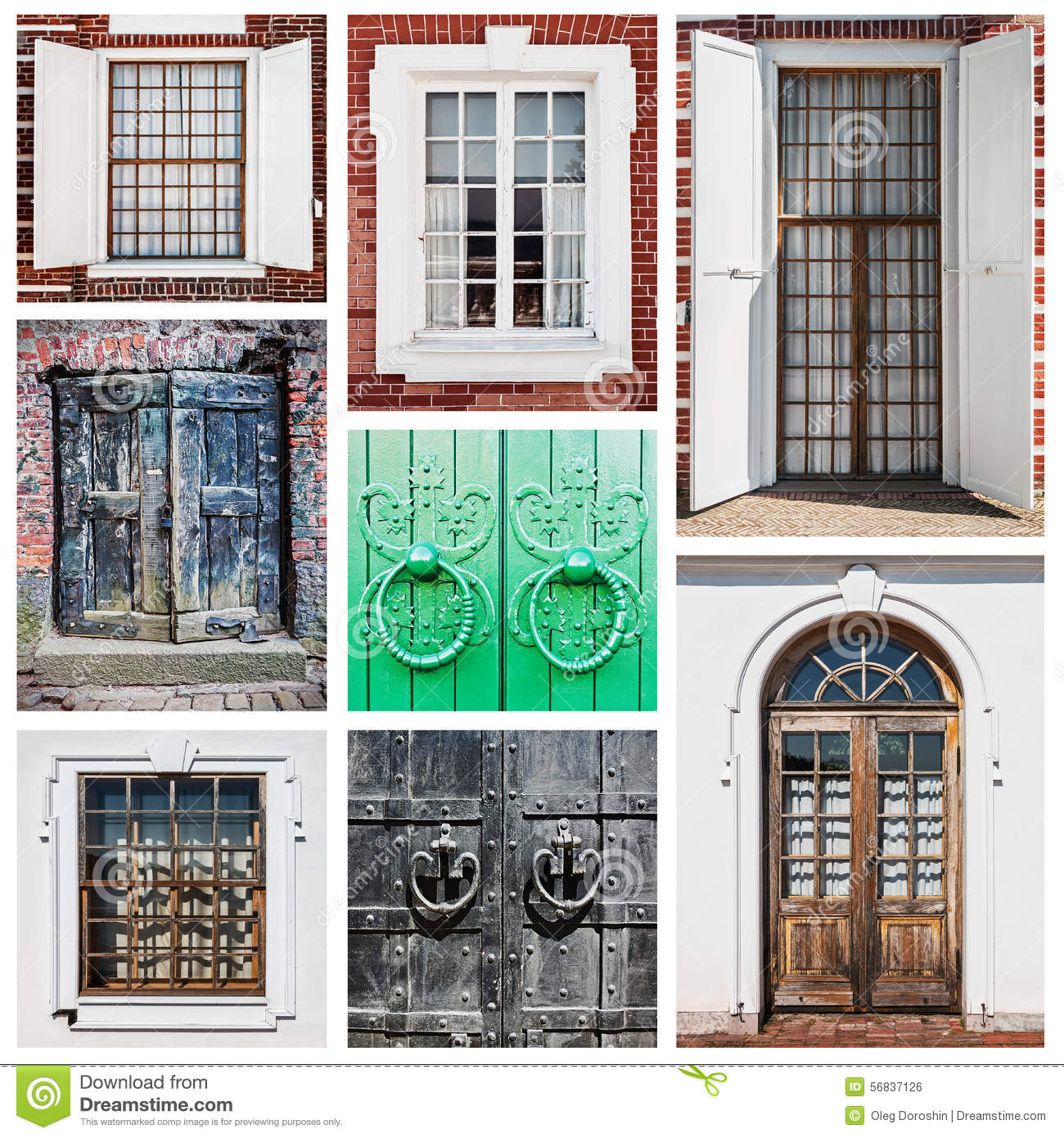 Old wooden doors and windows stock photo image 56837126 for Wooden doors and windows