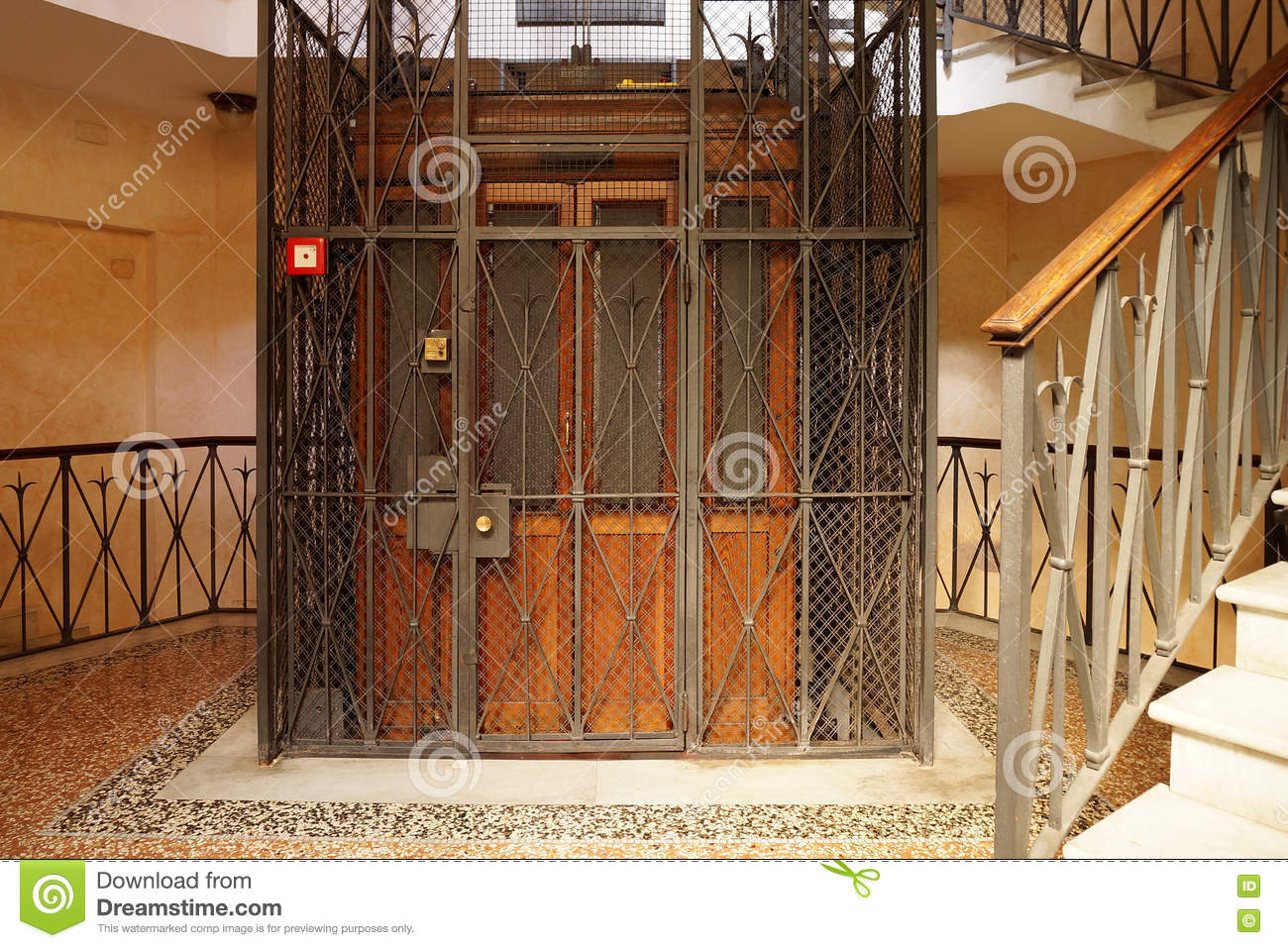 Stock Photo Old Wooden Elevator Metal Shaft Entrance Multistory Residential Building Image71987940 on Residential Metal Building Floor Plans