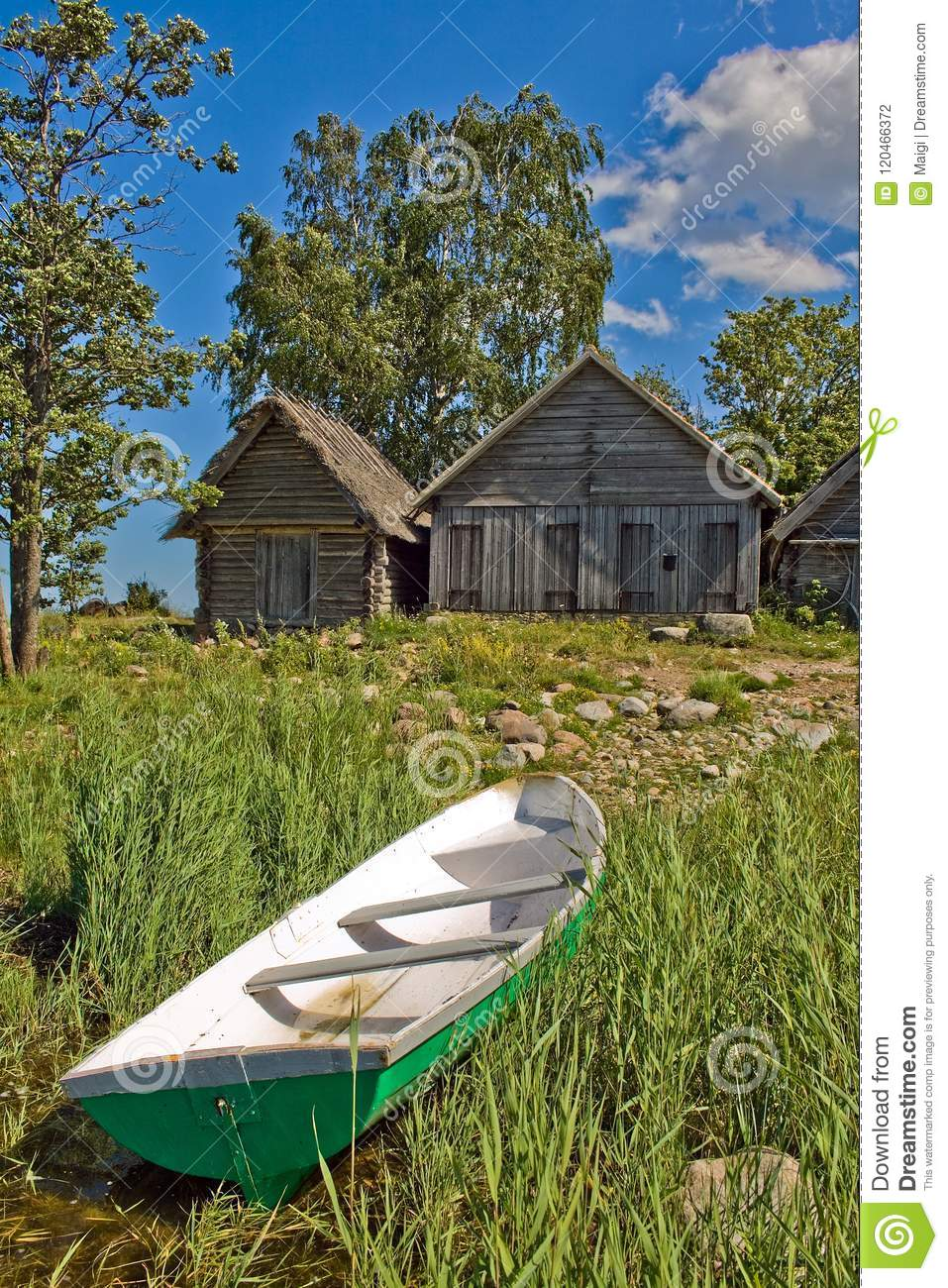 Download Net-sheds and fishing boat stock photo. Image of food - 120466372