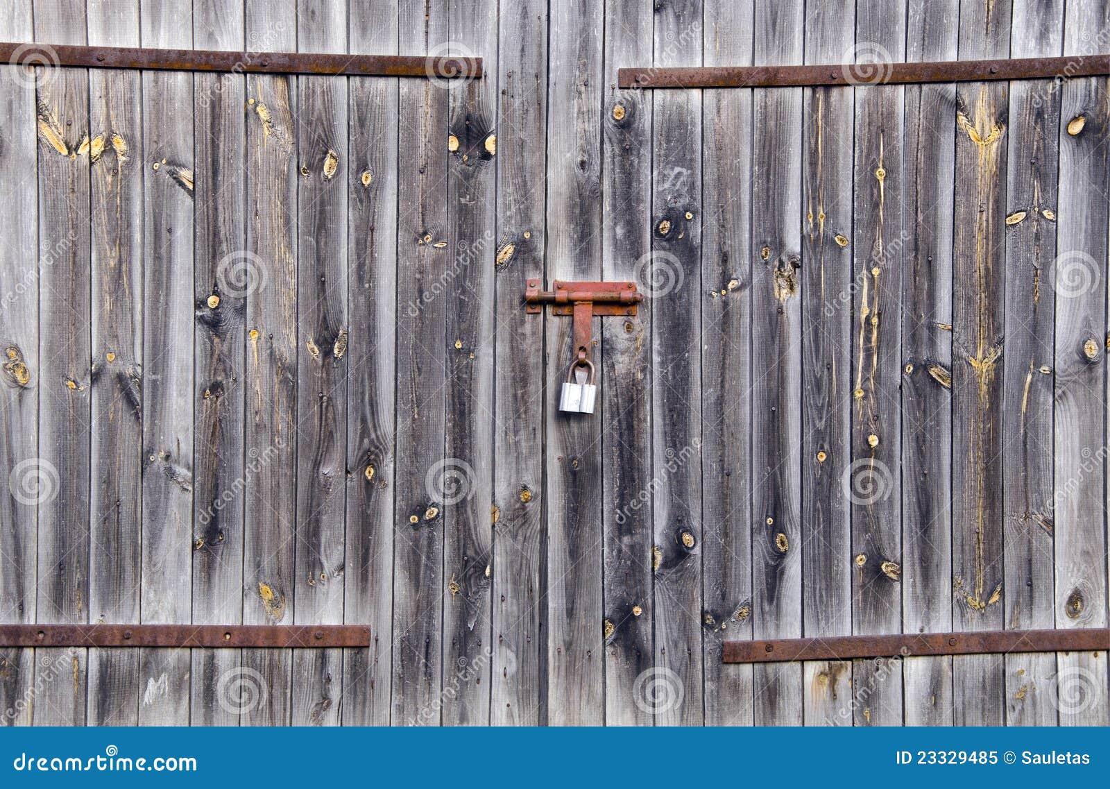 Old Wooden Farm Rural Building Door Locked Padlock Stock