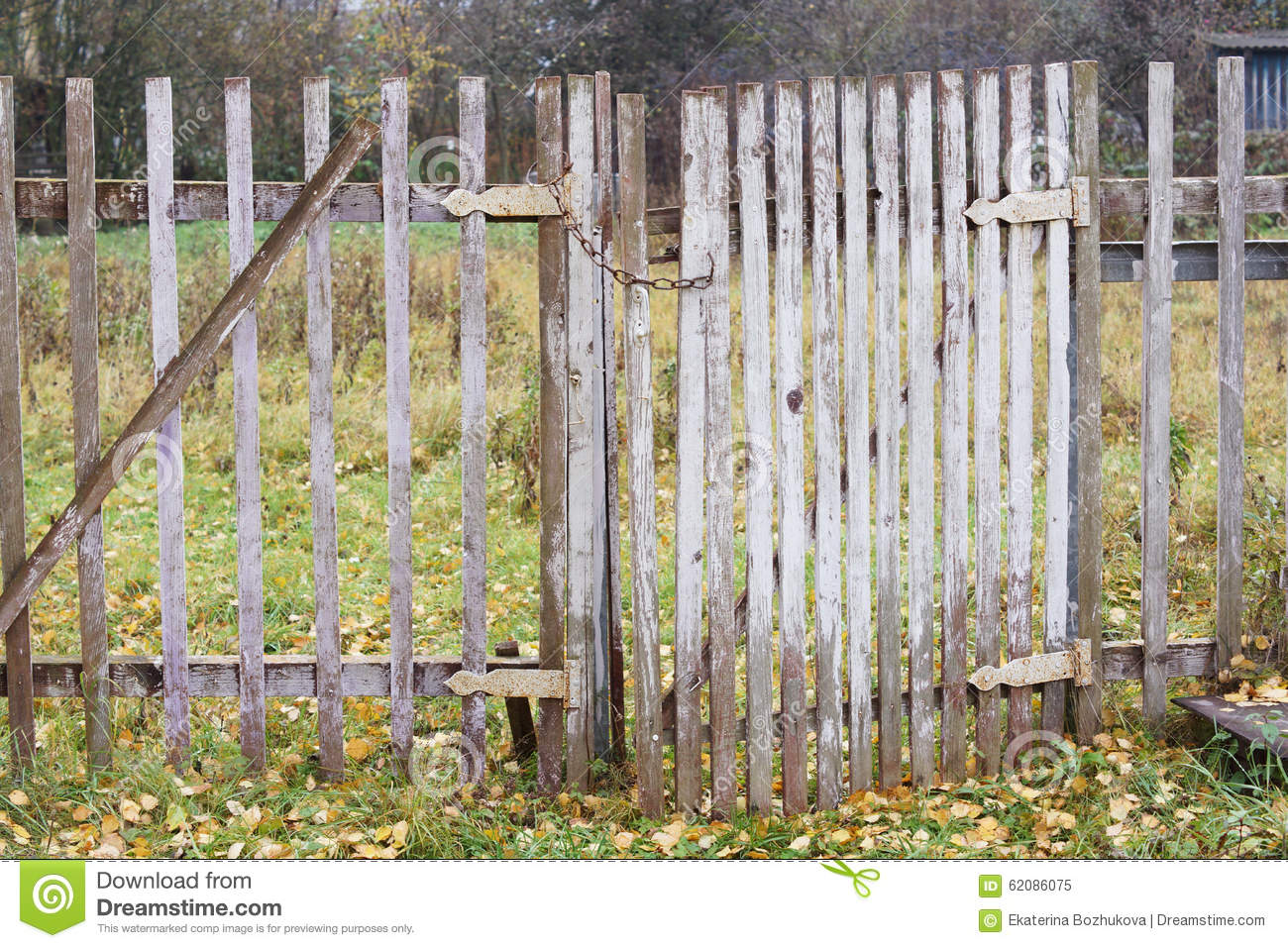 close fence gate old wooden