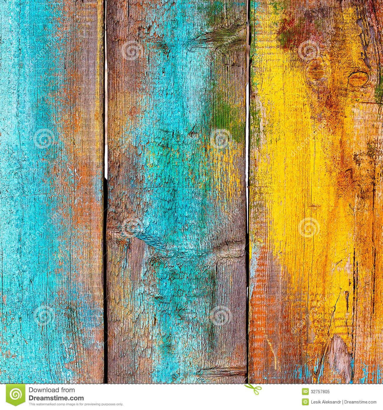 Old Wooden Fence Painted In Different Colors Stock Image